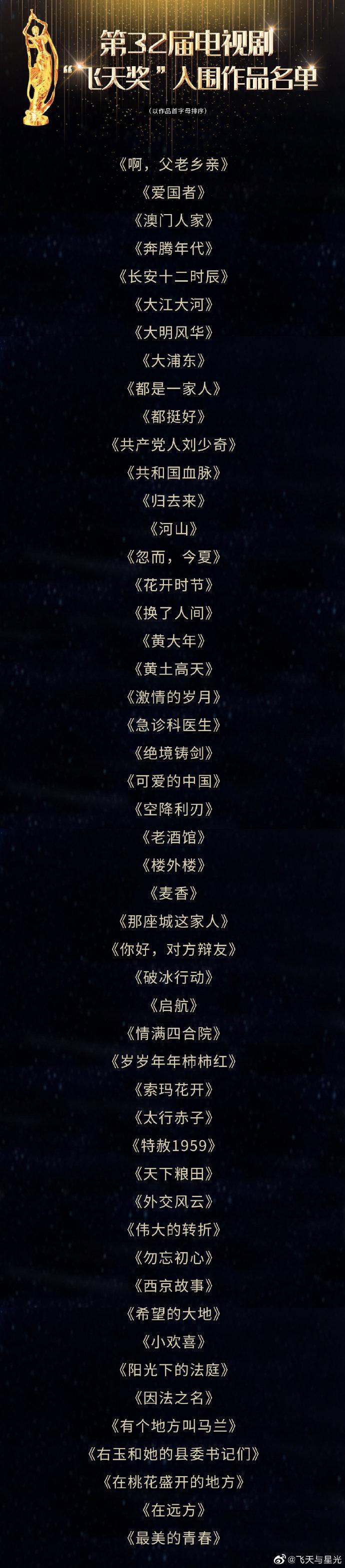 """第32届电视剧""""飞天奖""""入围名单揭晓!大江大河、长安十二时辰在列"""