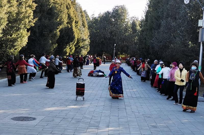 健身群众跳起藏族舞蹈。人民网记者 杨磊摄
